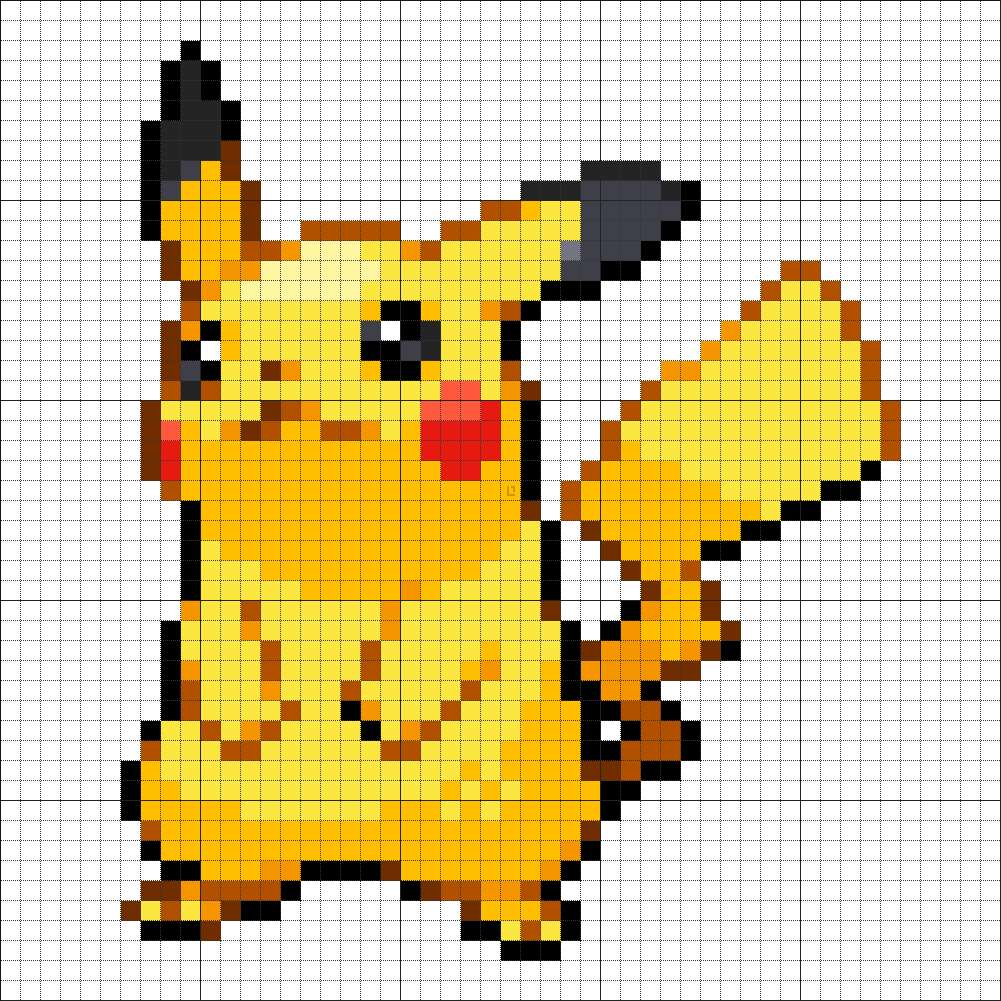 25 Pikachu Pixel Art Pokemon Point De Croix Pokemon Et