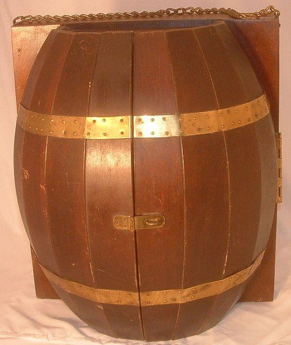 Vintage Wood Wine Barrel Wall Mount Hanging Mini Bar