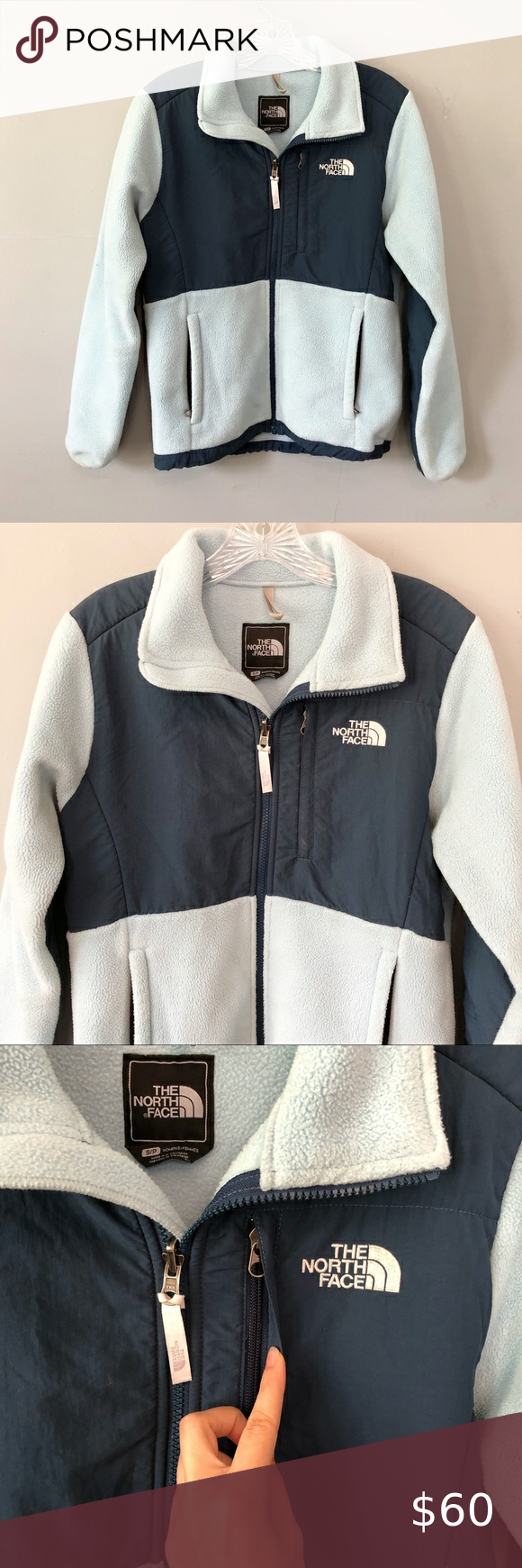Womans North Face Jacket Baby Blue And Navy Beautiful Baby Blue And Navy Color Womans North Face Jacket Zip Closure Zip Up Pockets [ 1740 x 580 Pixel ]