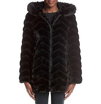 Gallery® Chevron Faux Fur Coat