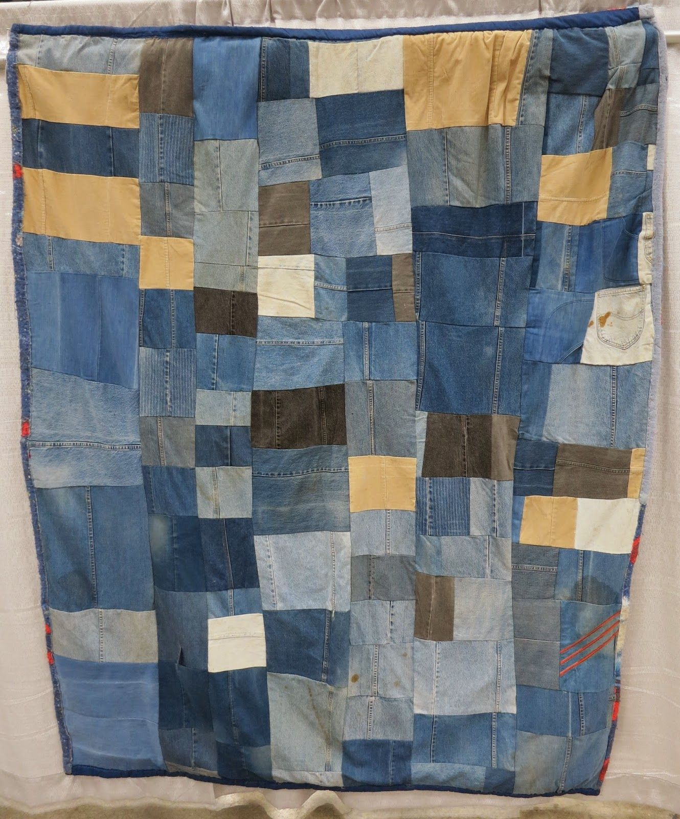 "Gee's Bend quilt: ""Denim and Corduroy Blocks"" by Flora Moore c. 2004.  Photo by Cat and Vee."