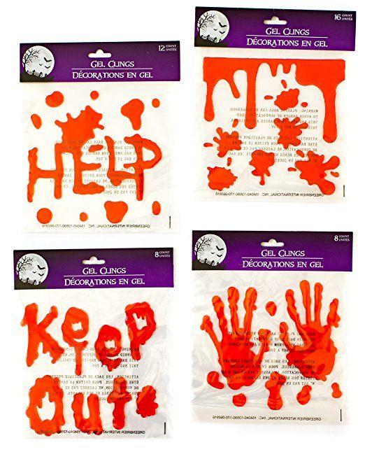 Halloween Bloody Drip Splatter Window Gel Clings - Pack of 4 - Put - halloween window clings