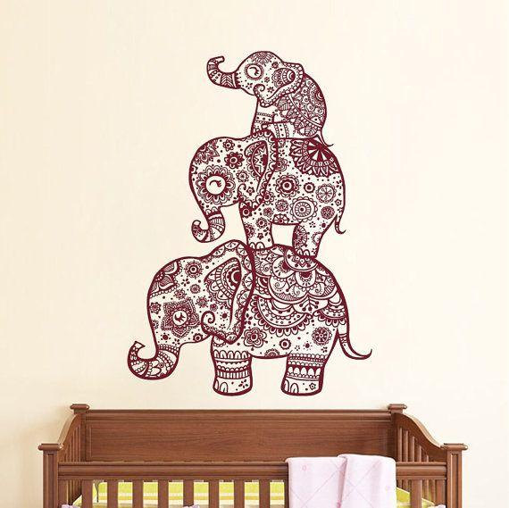 Wall Decal Elephant Vinyl Sticker Decals Home Decor Murals Indian