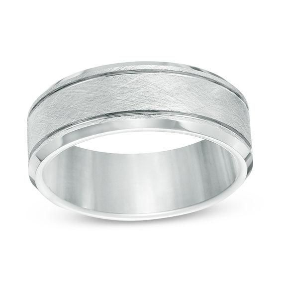 Zales Mens 7.0mm Brushed Comfort Fit Wedding Band in Titanium (1 Line) Aw86Ix