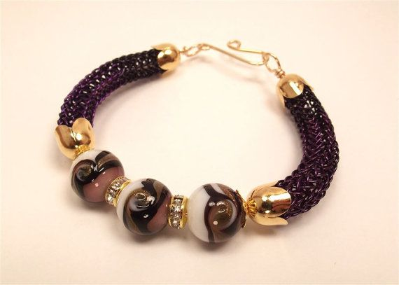 Dark Purple Viking Knit Bracelet with Purple White and Black Focal ...