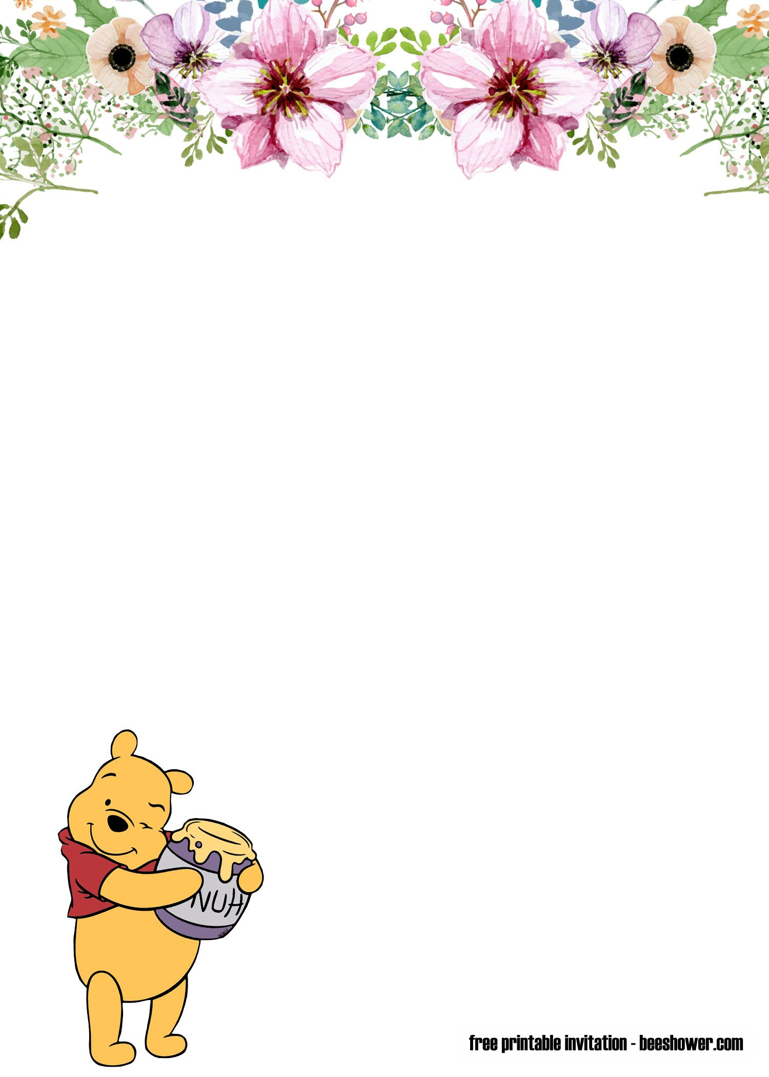 Free Winnie The Pooh Baby Shower Invitations Free Printable Baby Shower Invitations Baby Birthday Invitations Fancy Baby Shower Invitations