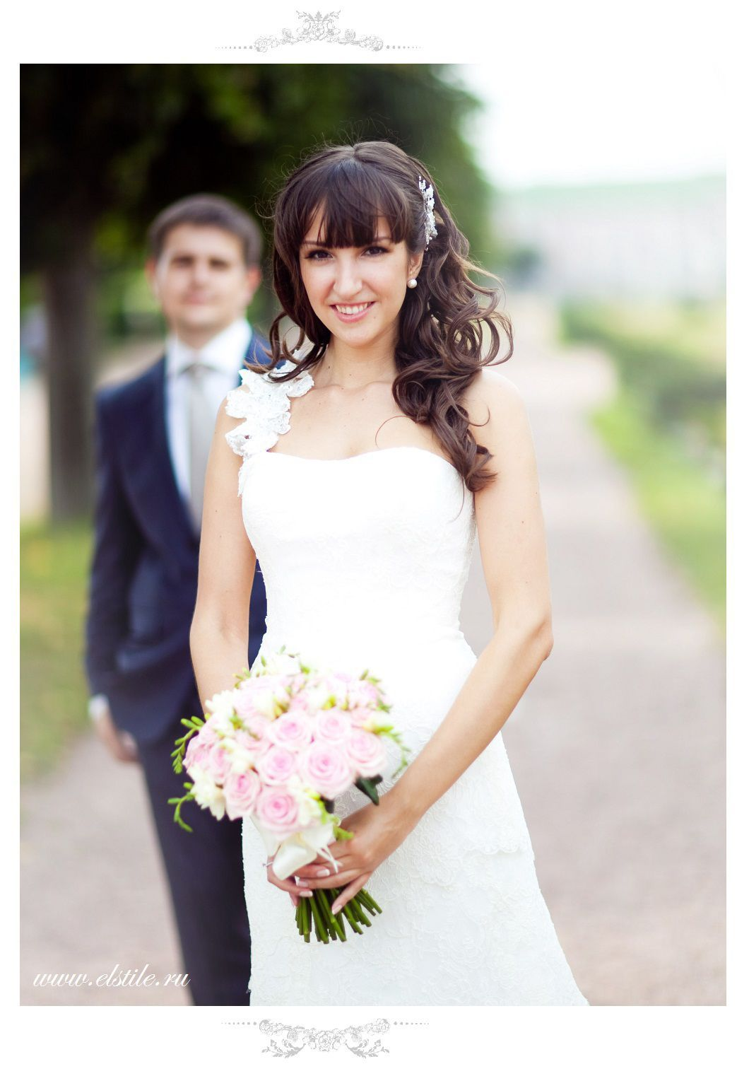 Wedding Hairstyle with fringe, long loose curls neutral make-up ...