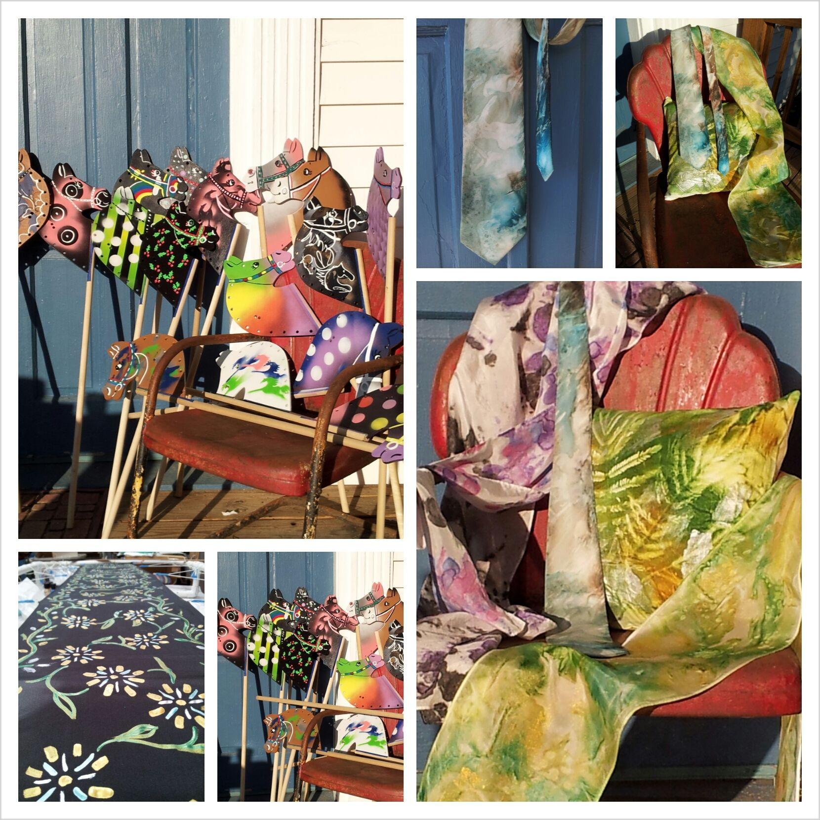 Silk stick horses and colors of the rainbow ART originals I have
