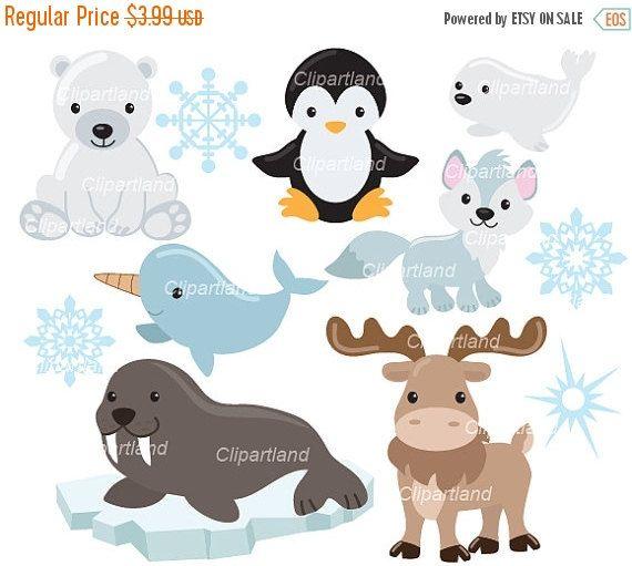 Instant Download Arctic Animals Clip Art Caa 2 Personal And Etsy Arctic Animals Animal Clipart Clip Art