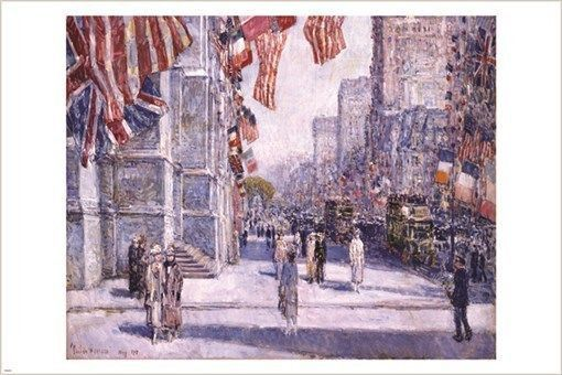 EARLY MORNING ON THE AVENUE may 1917 vintage poster CHILDE HASSAM 24X36 rare