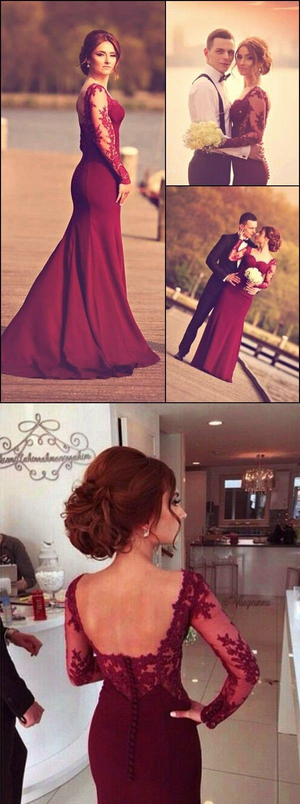 Aline sweetheart long sleeve burgundy prom dress with lace