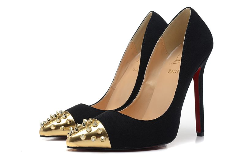 Christian Louboutin Pigalle Spikes 120mm Suede Black Pointed Toe