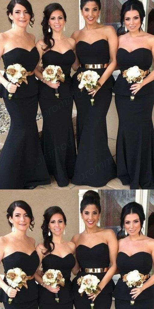 f039c34af3223 Cheap Sweetheart Black Mermaid Long Bridesmaid Dresses With Belt,Wedding  Party Gowns,WGY0239