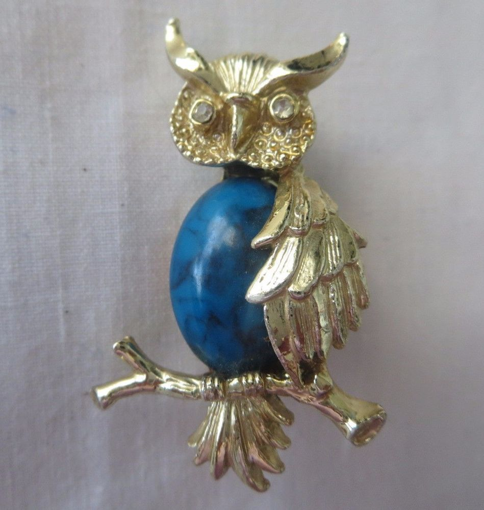 gerrys owl blue turquoise cabochon rhinestone