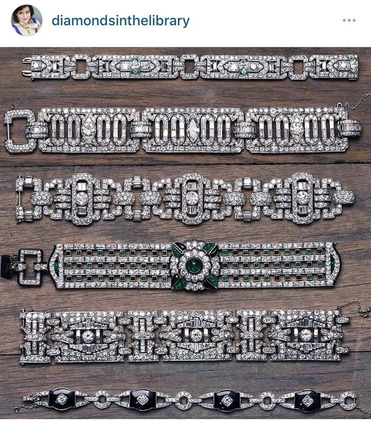 Best Diamond Bracelets : Had to regram this from @joganibh because holy Art Deco bracelets, Batman.