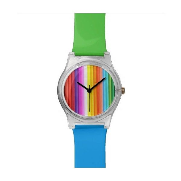 Multicolored Color Pencil Crayons Wrist Watch ( 46) ❤ liked on Polyvore  featuring jewelry, bbac5202211