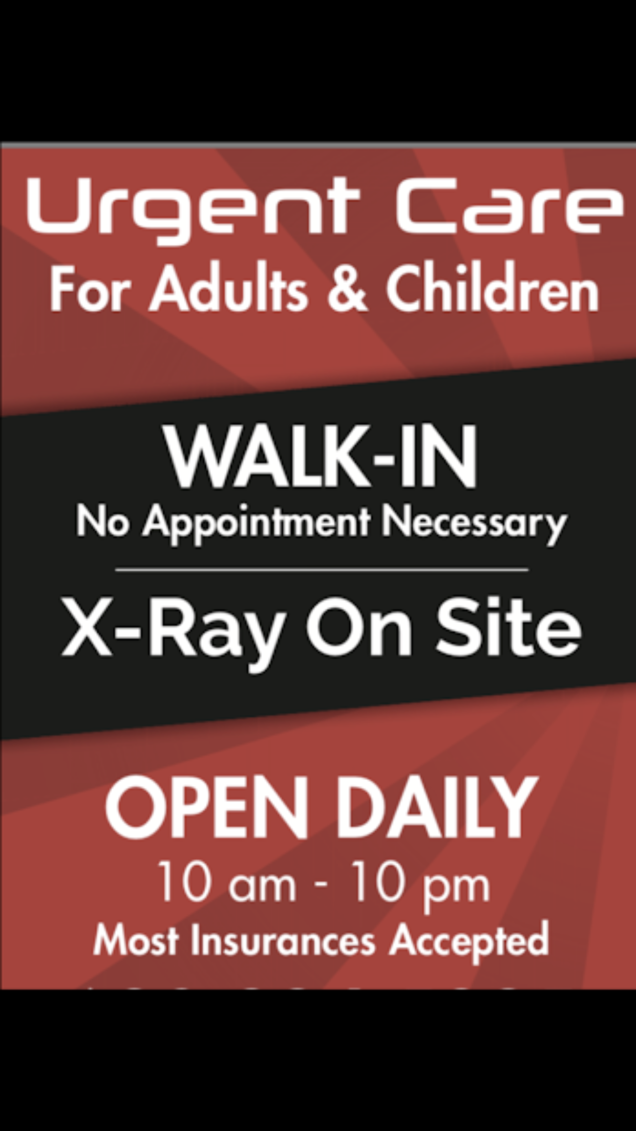 Open daily 10a10p. Serving all ages for injuries and