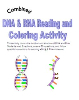 DNA RNA Reading and Coloring Activity Teaching biology