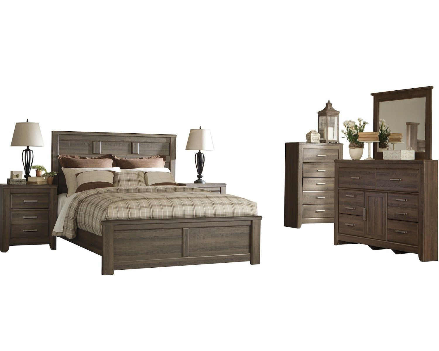 Ashley Juararo 6pc Cal King Panel Bedroom Set With Two Nightstand And Chest In Dark Brown Details Can Bedroom Set Bedroom Panel Ashley Bedroom Furniture Sets Cal king bedroom furniture set