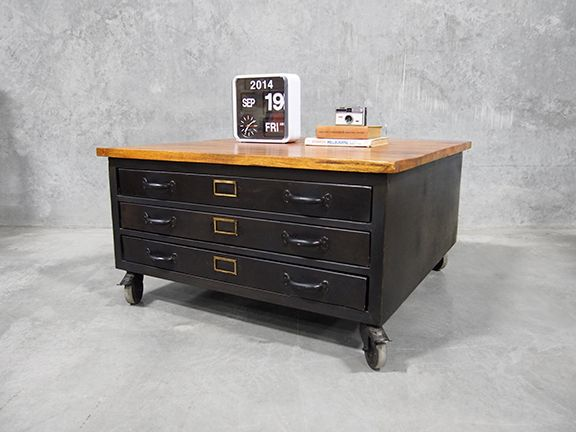 Map Drawers Coffee Table Furniture With Castor Wheels Iron