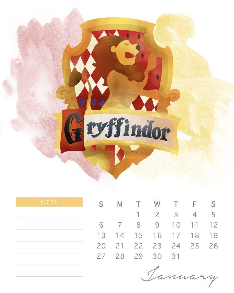 Brand New Free Printable 2019 Harry Potter Calendar Harry Potter
