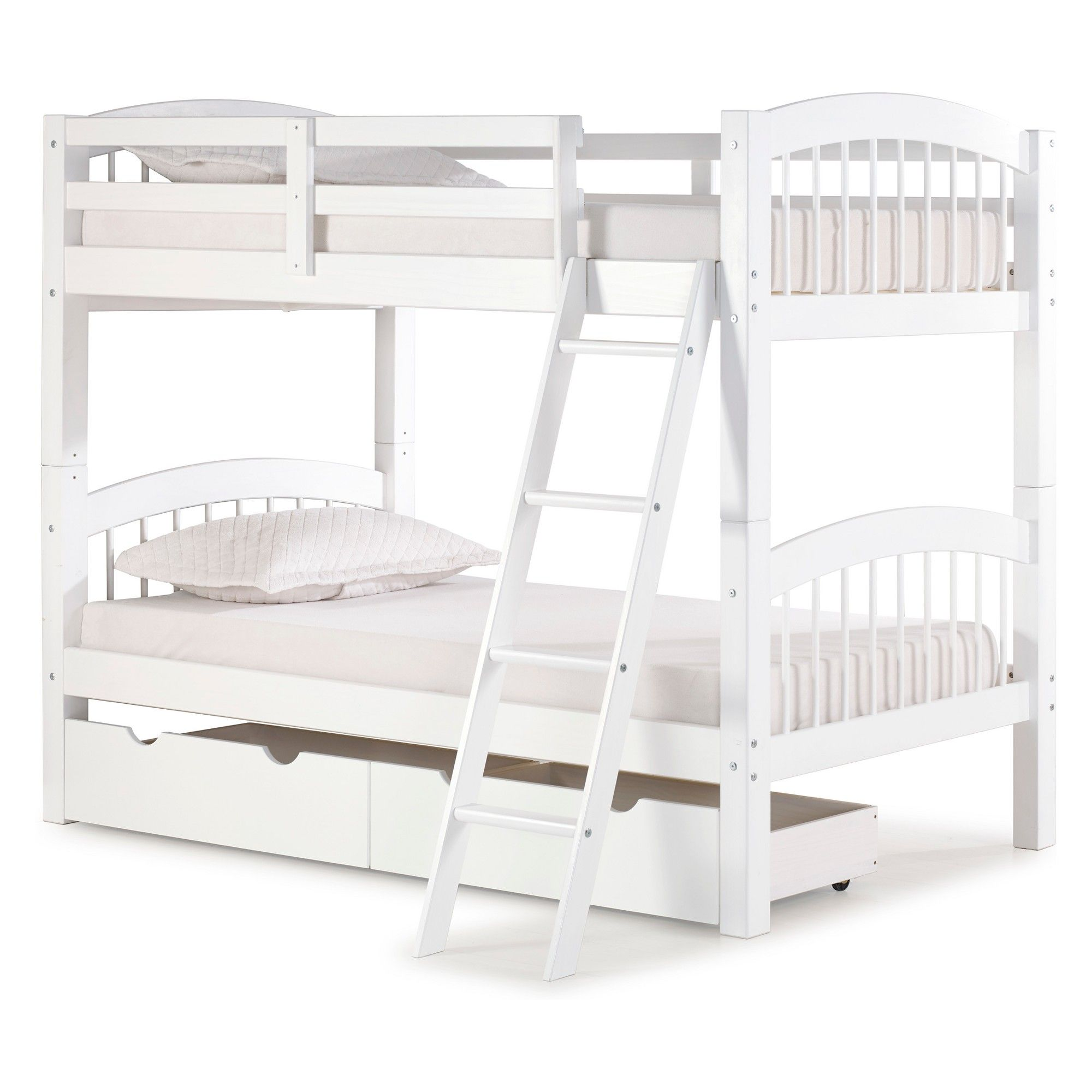 Spindle Twin Over Twin Bunk Bed With Storage Drawers White