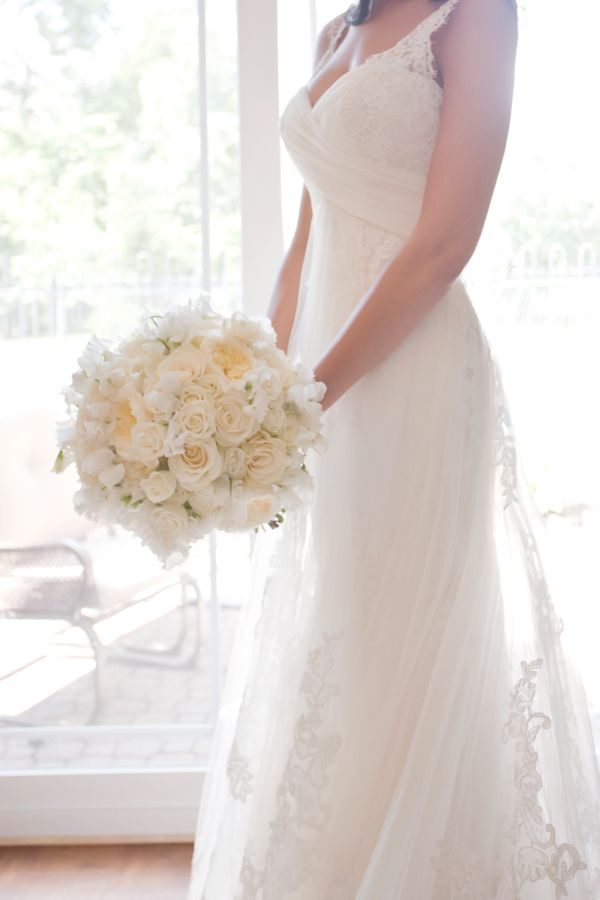 Lace Dress with Flowers Wedding Bouquet