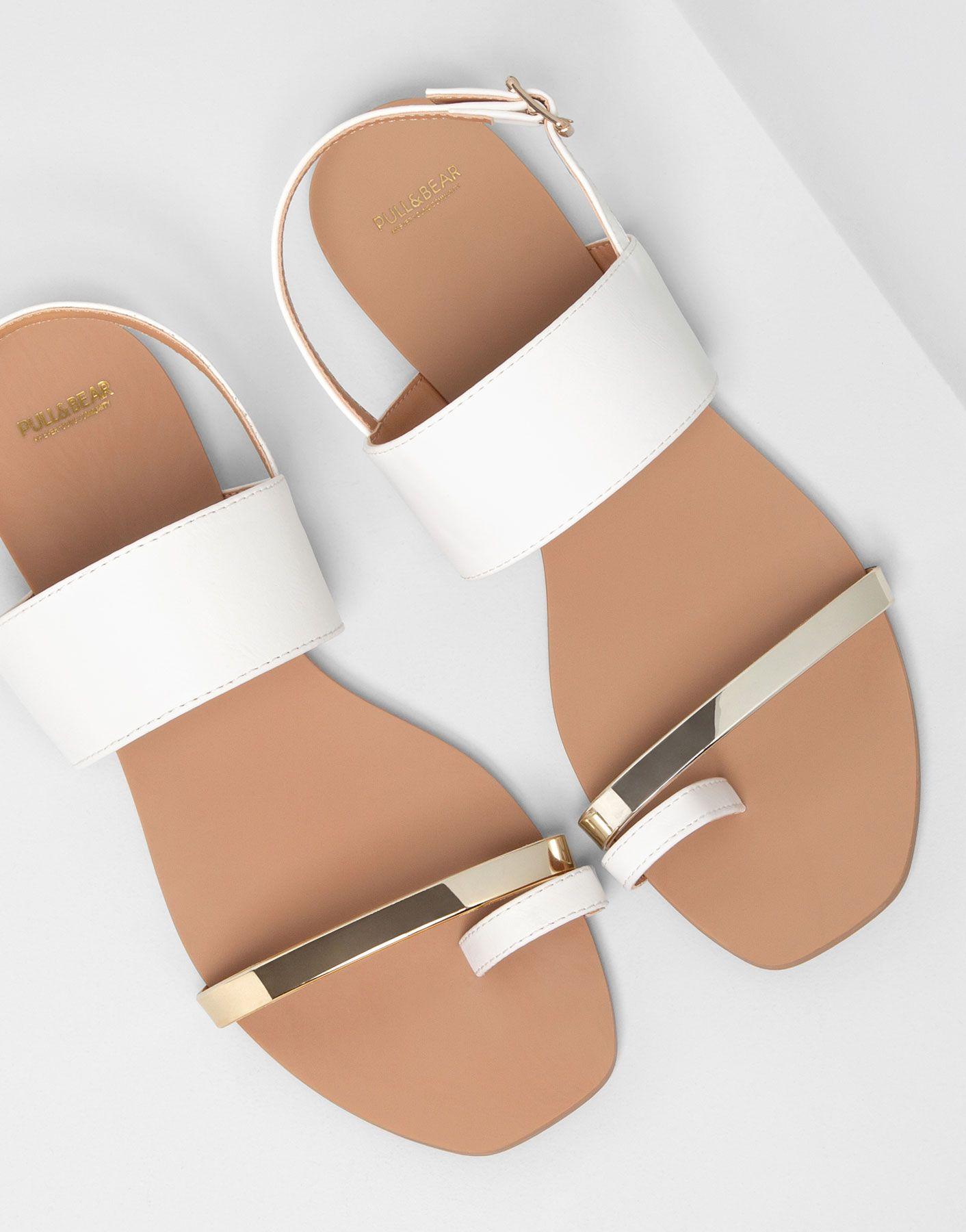 51c4b6d53 Pull   Bear Metallic Sandals in White Gold
