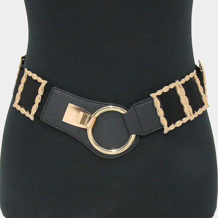 21.00$  Buy now - http://vinns.justgood.pw/vig/item.php?t=ehle5gn1974 - Black & Gold Leather Metal Hoop Stretch Belt 293885 21.00$