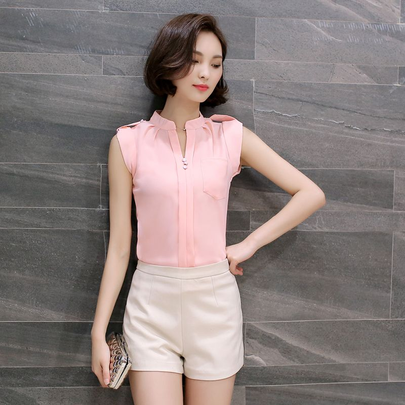 ee720a6075f3 Badges Design Chiffon Blouse Femme 2017 Solid Sleeveless Women Shirts OL  Style Ladies Tops Summer Camisa Blusas Mujer M-3XL