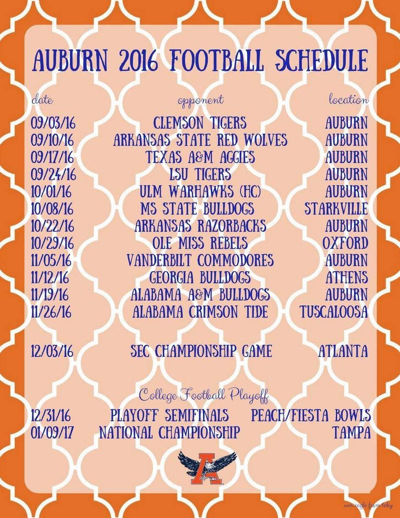 auburn football schedule 2016 | Orange & Blue | Pinterest