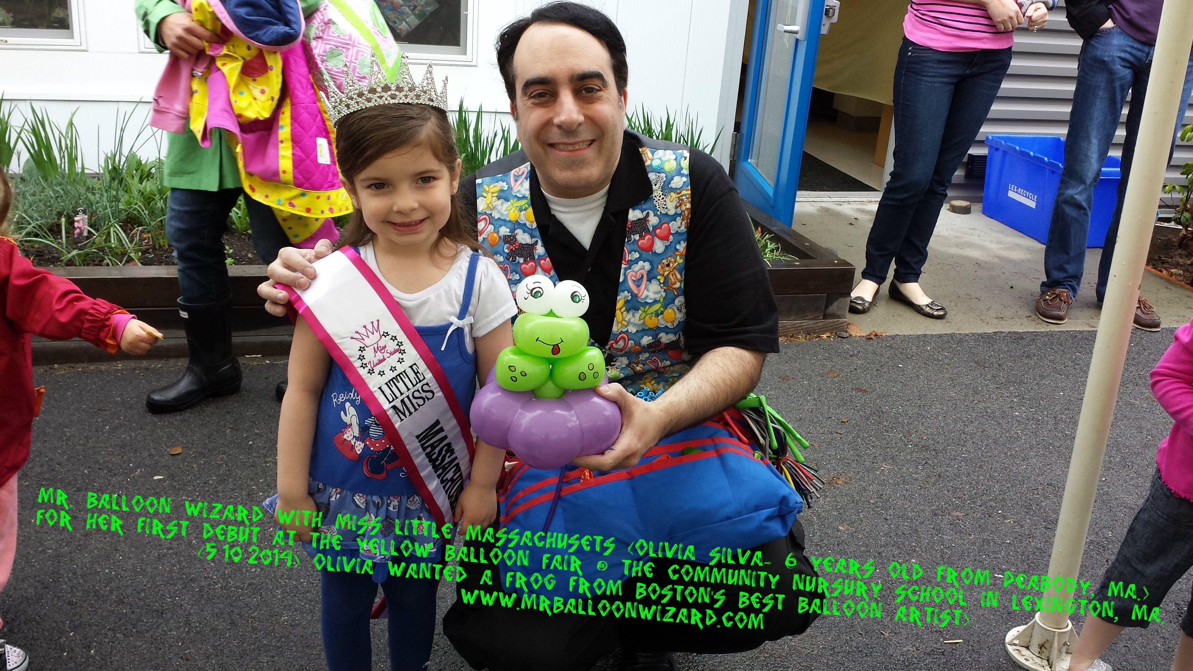 Little Miss Machusetts With Mr Balloon Wizard At The Yellow Fair Community Nursery School In Lexington Ma