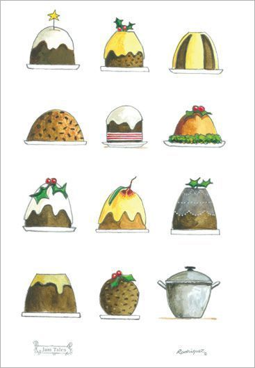 christmas puddings tea towel