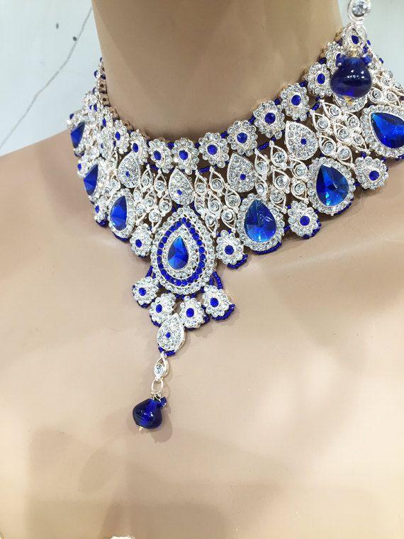 Womens Ladies Silver Dark Blue Crystal Diamante Rhinestone Bib Collar Necklace