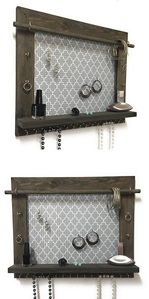 Jewelry Organizer Earring Holder Necklace Holder Barnwood Frame