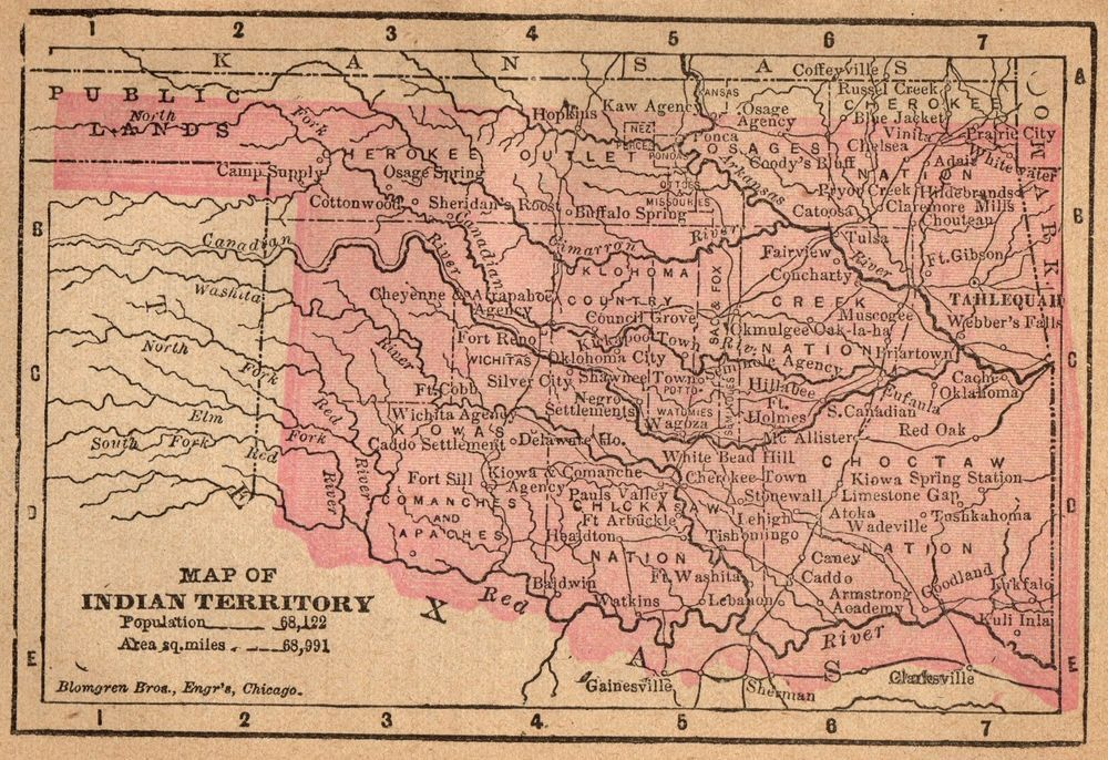 1888 Rare Size INDIAN TERRITORY Map RARE MINIATURE Antique Oklahoma