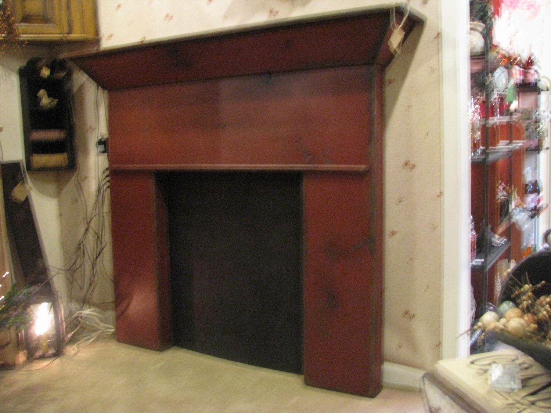 Greensburg firelplace mantle primitive finish via etsy warm fireplaces - Fireplace finish ideas ...