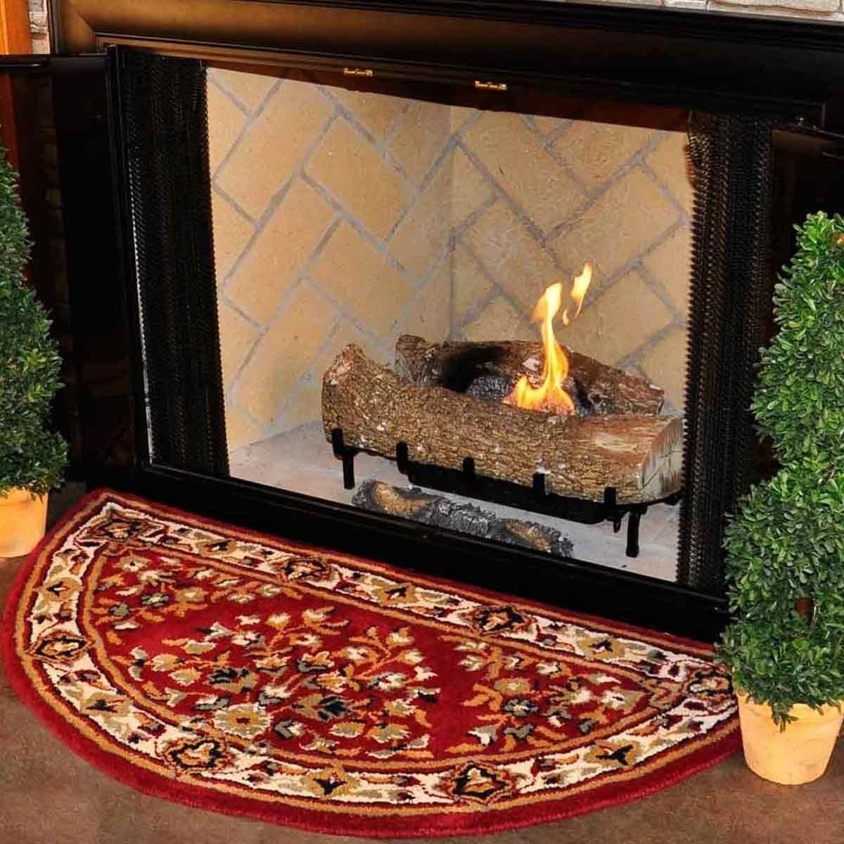 44 Half Round Burgundy Oriental Fireplace Rug Fireplace Rugs Round Kitchen Rugs Fireplace