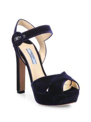 07e562dc0ba PRADA Velvet Crisscross Ankle-Strap Platform Sandals.  prada  shoes  sandals
