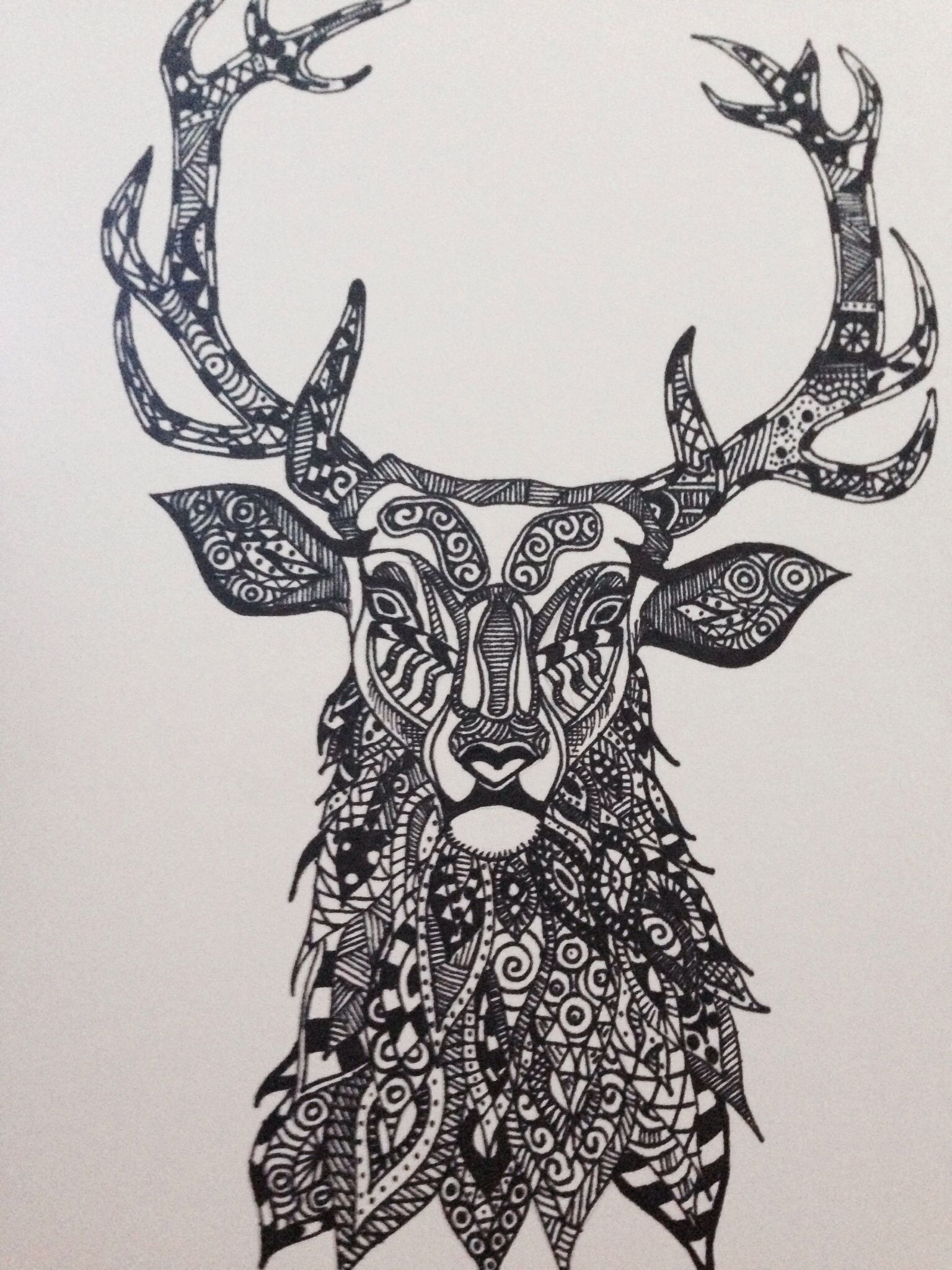 Stag zentangle sharpie doodle stags Pinterest