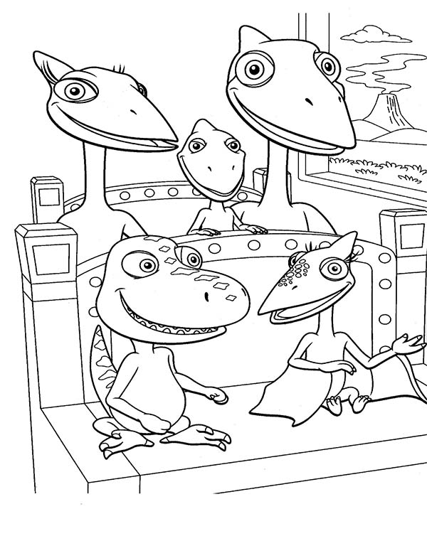 Buddy And Tiny Ride Train With Shiny Family In Dinosaurus Train Coloring Page Coloring Sun Train Coloring Pages Dinosaur Coloring Pages Dinosaur Train