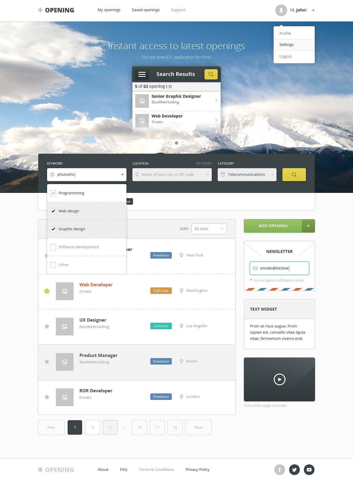 Opening Job Board Wordpress Theme Job board