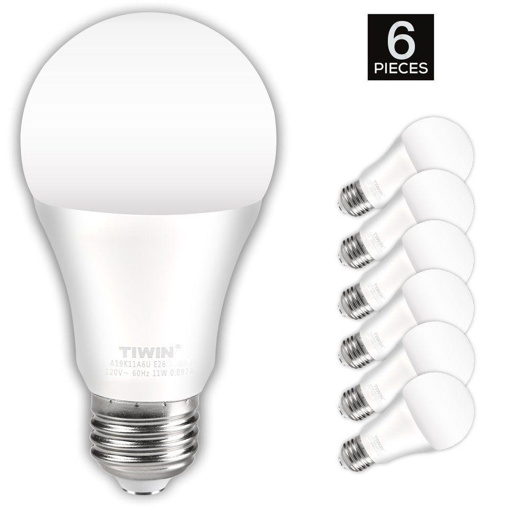 Tiwin Led Light Bulbs 100 Watt Equivalent 11w Soft White 2700k General Purpose A19 Led Bulbs E26 Base Ul Li With Images Light Bulb Wattage Led Light Bulbs Led Bulb