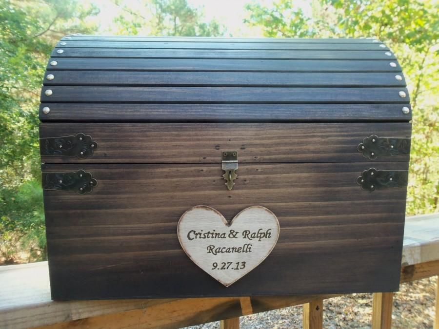 Rustic Wedding Card Box Huge Large Size Wood Chest With Slot And Key Set All Inclusive 2418016