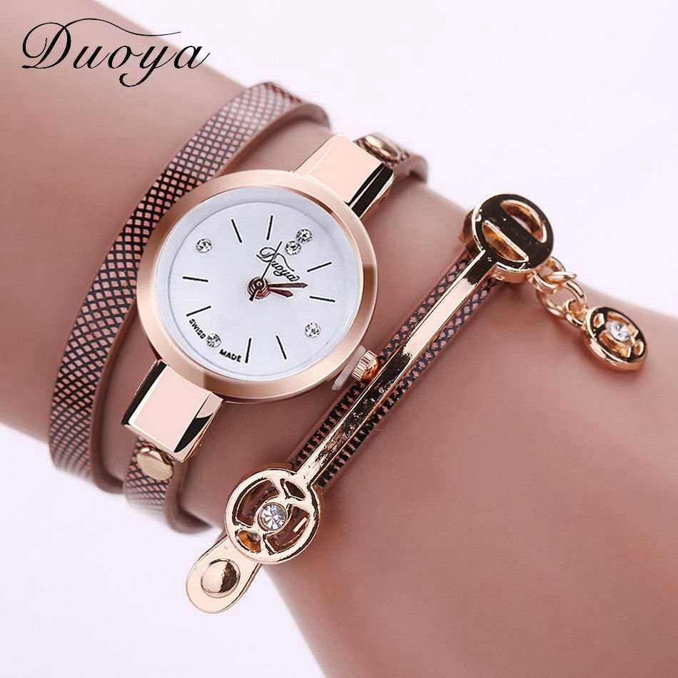 Women leather bracelet watch gold case quartz watch for women wrist