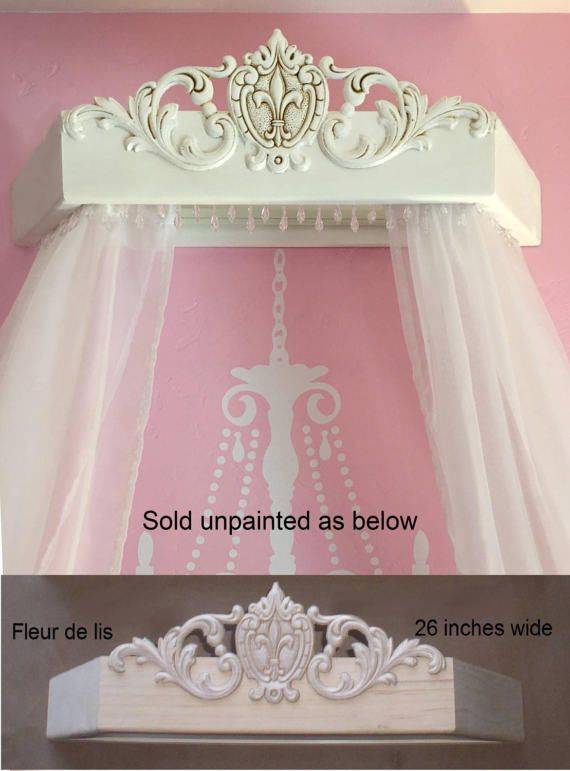Wood bed canopy for DIY, Unpainted wood bed crown ...
