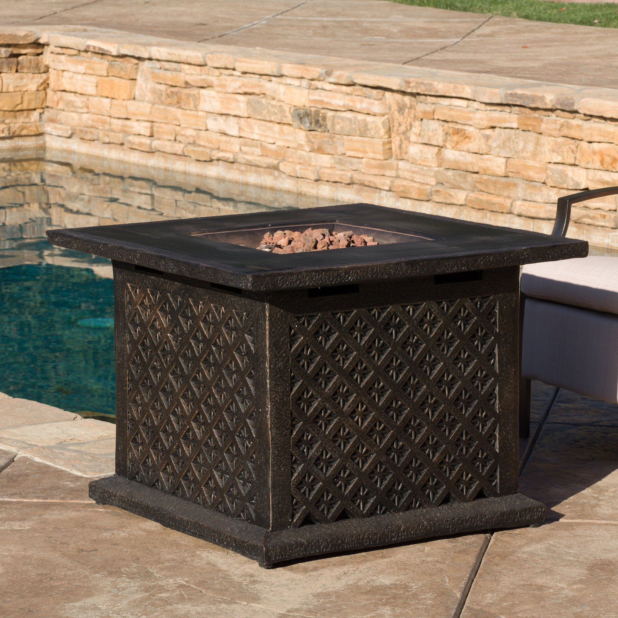 saratoga outdoor 33 square liquid propane fire pit with lava rocks