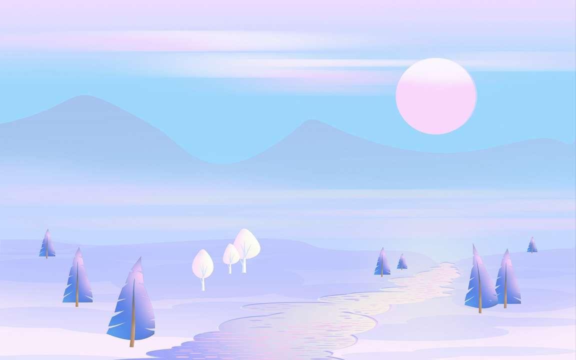 Download Wallpaper 3840x2400 Sun Mountains Vector Art Trees