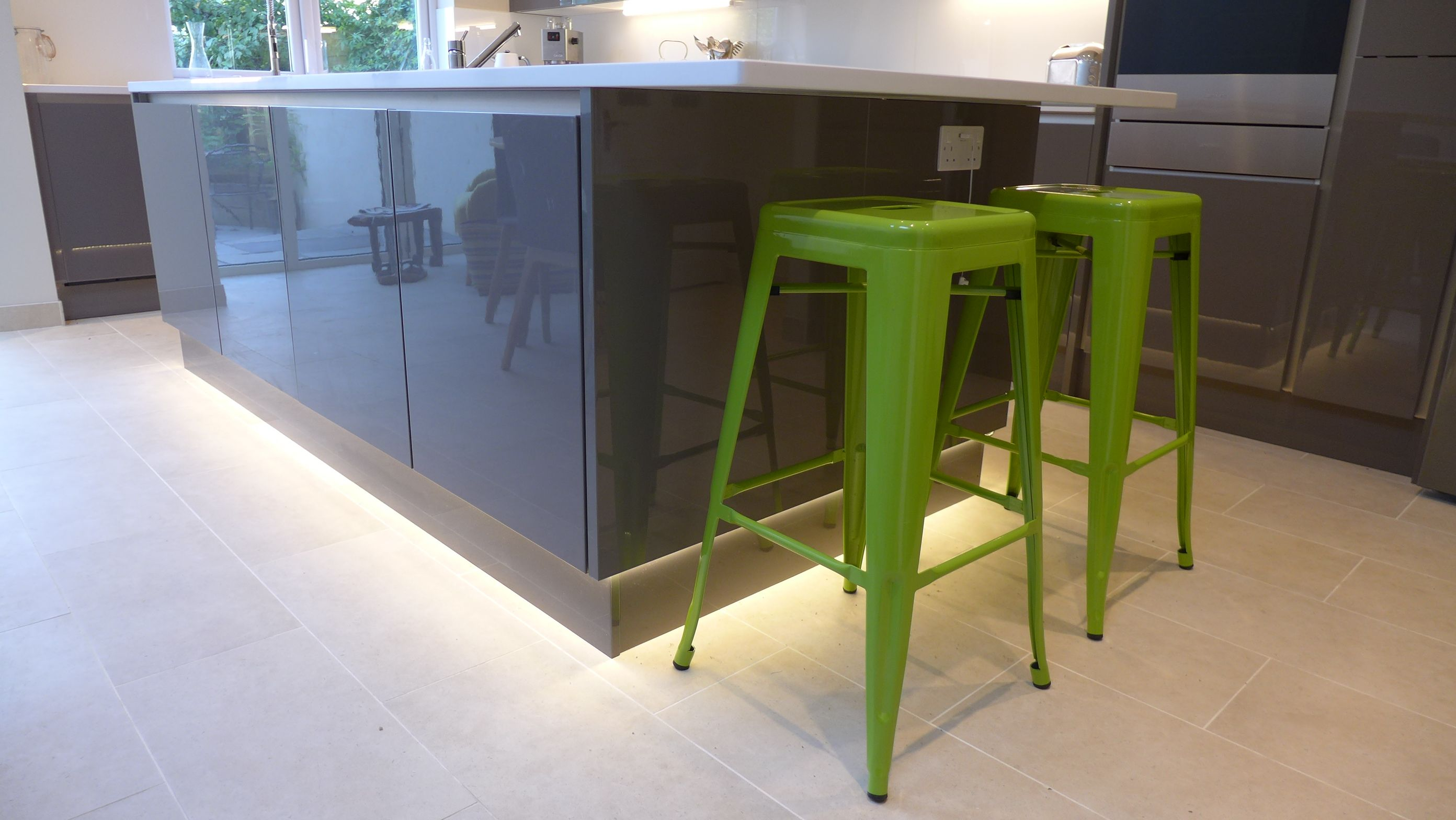 Plinth Lighting For Kitchens Gloss Grey Kitchen Island With Led Plinth Lighting Around The Base