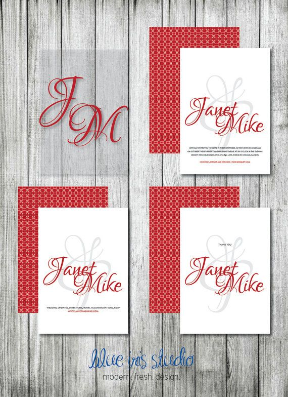 Modern and Elegant Wedding Invitation Package by BlueIrisStudio